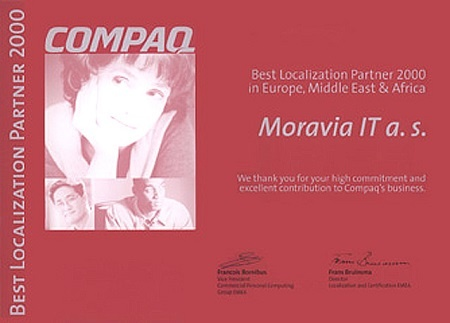 Compaq Best Localization Partner 2000 in Europe, Middle East, Africa